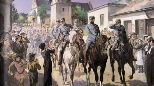 """Obraz Stanisława Kaczora - Batowskiego """"Wejście strzelców Piłsudskiego do Kielc"""""""
