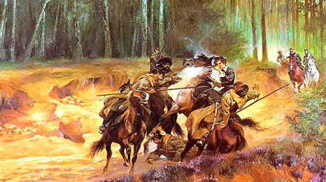 Obraz Wojciecha Kossaka 'Emilia Plater w bitwie pod Szawlami'
